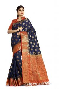 De Marca Blue Colour Tussar Art Silk Saree (code - M1660)