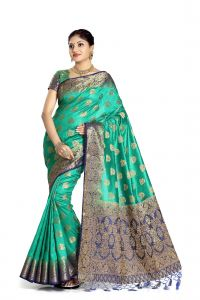 De Marca Green Colour Tussar Art Silk Saree (code - M1666)