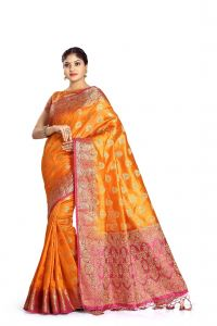 De Marca Orange Colour Tussar Art Silk Saree (code - M1667)