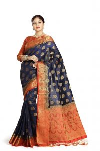 De Marca Blue Colour Tussar Art Silk Saree (code - M1668)
