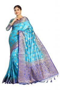 De Marca Blue Colour Tussar Art Silk Saree (code - M1669)
