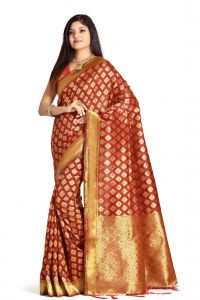De Marca Red Colour Banarasi Art Silk Saree (code - M1671)