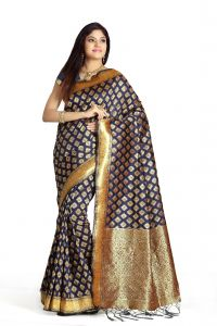 De Marca Royal Blue Colour Banarasi Art Silk Saree (code - M1672)