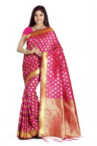 De Marca Rani Pink Colour Banarasi Art Silk Saree (code - M1674)