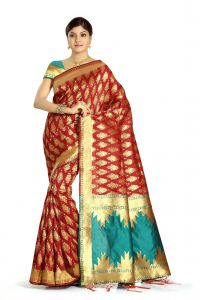 De Marca Red Colour Banarasi Art Silk Saree (code - M1678)