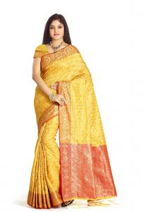De Marca Yellow Colour Banarasi Art Silk Saree (code - M1680)