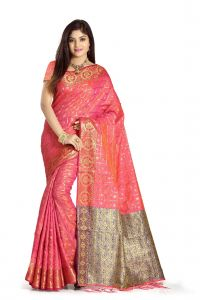 De Marca Pink Colour Banarasi Art Silk Saree (code - M1681)