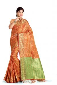 De Marca Orange Colour Banarasi Art Silk Saree (code - M1682)