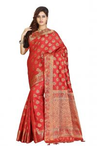 De Marca Red Colour Art Silk - Tussar Saree (code - M1712)