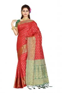 De Marca Red - Green Colour Banarasi Silk Saree (code - M1714)