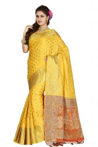De Marca Yellow Colour Banarasi Silk Saree (code - M1715)