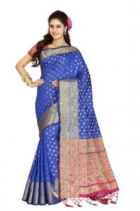 De Marca Blue Colour Banarasi Silk Saree (code - M1717)