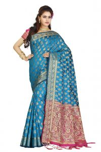 De Marca Blue Colour Banarasi Silk Saree (code - M1719)