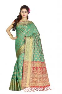 De Marca Green Colour Banarasi Silk Saree (code - M1720)
