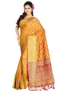 De Marca Orange Colour Banarasi Silk Saree (code - M1721)