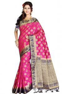 De Marca Pink - Blue Colour Art Silk - Tussar Saree (code - M1728)