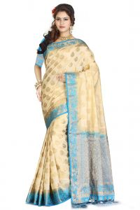 De Marca Beige - Blue Colour Art Silk - Tussar Saree (code - M1731)