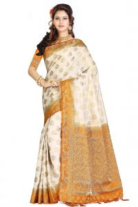 De Marca Cream - Orange Colour Art Silk - Tussar Saree (code - M1732)