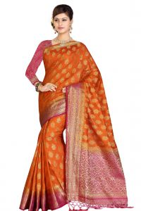 De Marca Orange - Pink Colour Art Silk - Tussar Saree (code - M1737)