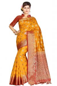 De Marca Yellow - Red Colour Art Silk - Tussar Saree (code - M1741)
