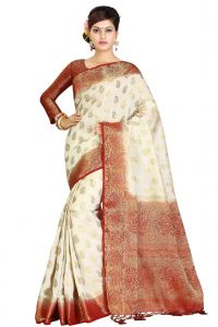 De Marca Cream - Red Colour Art Silk - Tussar Saree (code - M1743)