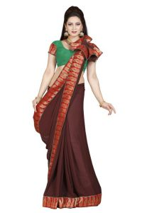 De Marca Coffee Faux Chiffon Saree