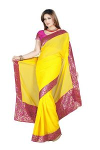 De Marca Yellow Color Faux Chiffon Saree