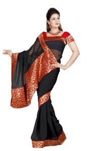 De Marca Black Colour Faux Chiffon Saree