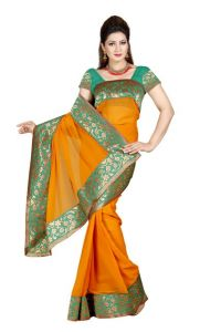 De Marca Rust Color Faux Chiffon Saree