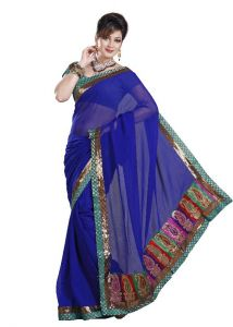 De Marca Royal Blue Faux Chiffon Designer Party Wear Saree - M319