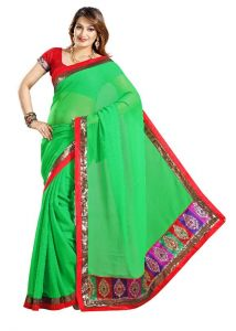 De Marca Green Faux Chiffon Designer Party Wear Saree - M325