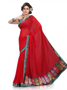 De Marca Red Faux Chiffon Saree ( M637 )