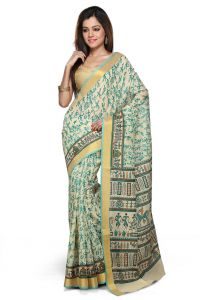 De Marca Teal Green Chanderi Cotton Saree - M753