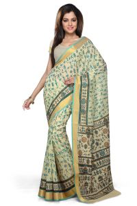 De Marca Teal Green Chanderi Cotton Saree - M757