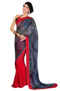 De Marca Chiffon_georgette In Red_grey Sarees For Women - (code -mp1001)
