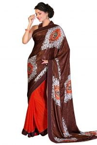 De Marca Chiffon_georgette In Orange_brown Sarees For Women - (code -mp1010)