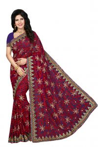 De Marca Red Brasso Saree (code - Rb1009)