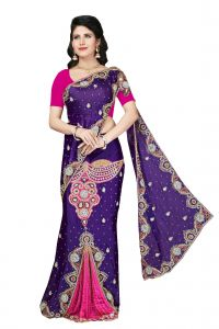De Marca Purple - Pink Chiffon Saree (code - Rb1012)