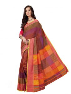 De Marca Multicolor Cotton Saree (product Code - Riya432)