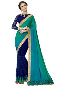 De Marca Blue-green Colour Faux Georgette Half N Half Saree (product Code - Rtsn97047)