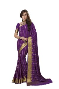 De Marca Crepe Purple Saree For Womens - Sak289