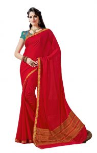 De Marca Red Crepe - Silk Saree (code - Sin2521)