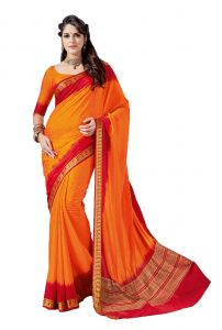 De Marca Orange - Red Crepe - Silk Saree (code - Sin2533)