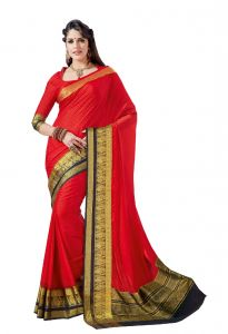 De Marca Red - Black Crepe - Silk Saree (code - Sin2536)