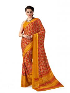 De Marca Red - Yellow Crepe Saree (product Code - Sl4019a)