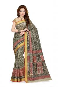 De Marca Black - Beige Colour Cotton Blend Saree (product Code - Ss4101)