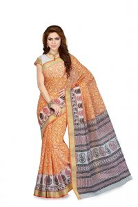 De Marca Orange Colour Cotton Blend Saree (product Code - Ss4103)
