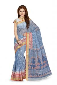 De Marca Blue Colour Cotton Blend Saree (product Code - Ss4105)
