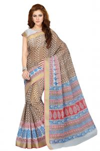 De Marca Brown Colour Cotton Blend Saree (product Code - Ss4106)