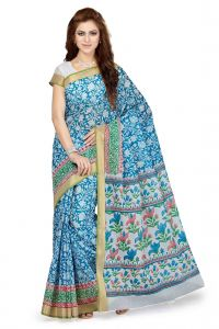 De Marca Blue Colour Cotton Blend Saree (product Code - Ss4110)